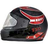 Montex Zeenex Strong Full Face ISI Approved Motorbike Helmets for Men, Boys, Women (Black Graphic Red, Free Size)