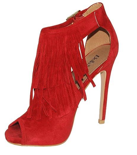 Vanesa-28 Women's Peep Toe Fringe Ankle Bootie