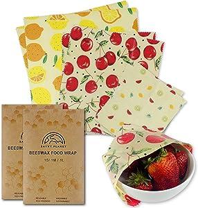 SAVVY PLANET Beeswax Wrap Organic Reusable Food Wraps   Food Storage   All Natural Zero Waste   3 Sizes Premium Plastic Free Non Toxic Sustainable (2 Pack)