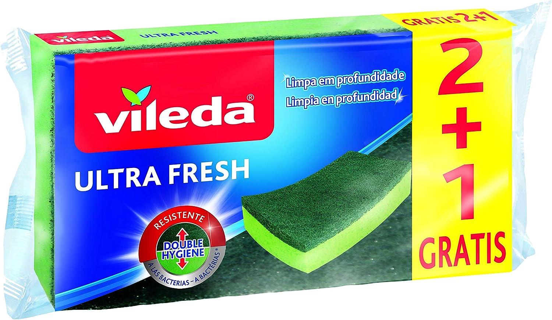 Vileda Estropajo Ultrafresh fibra con esponja 2+1, Verde