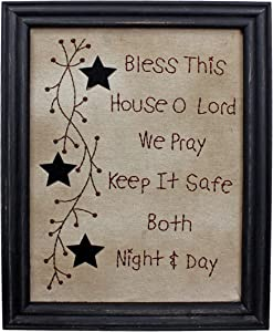 CVHOMEDECO. Primitives Antique Bless This House o Lord we Pray Keep it Safe Both Night & Day Stitchery Frame Wall Mounted Hanging Decor Art, 11 x 14 Inch