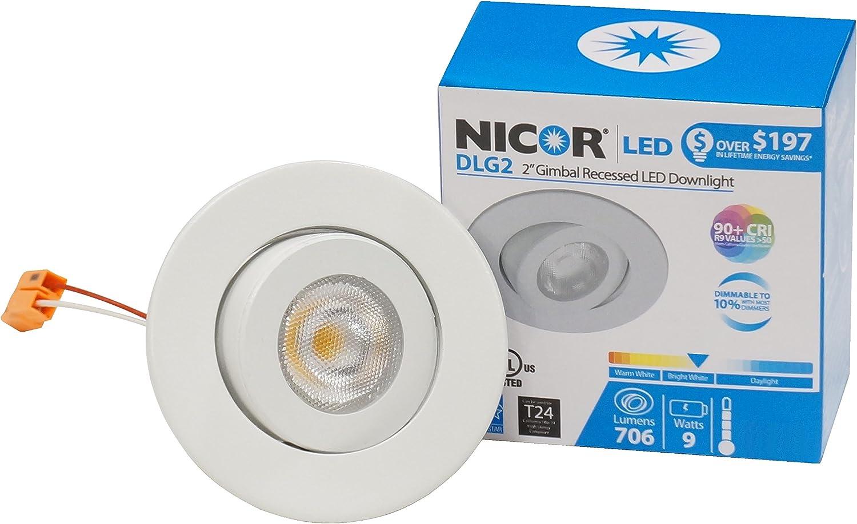 DLR2-10-120-3K-WH 3000K NICOR Lighting 2 inch LED Retrofit Downlight in White