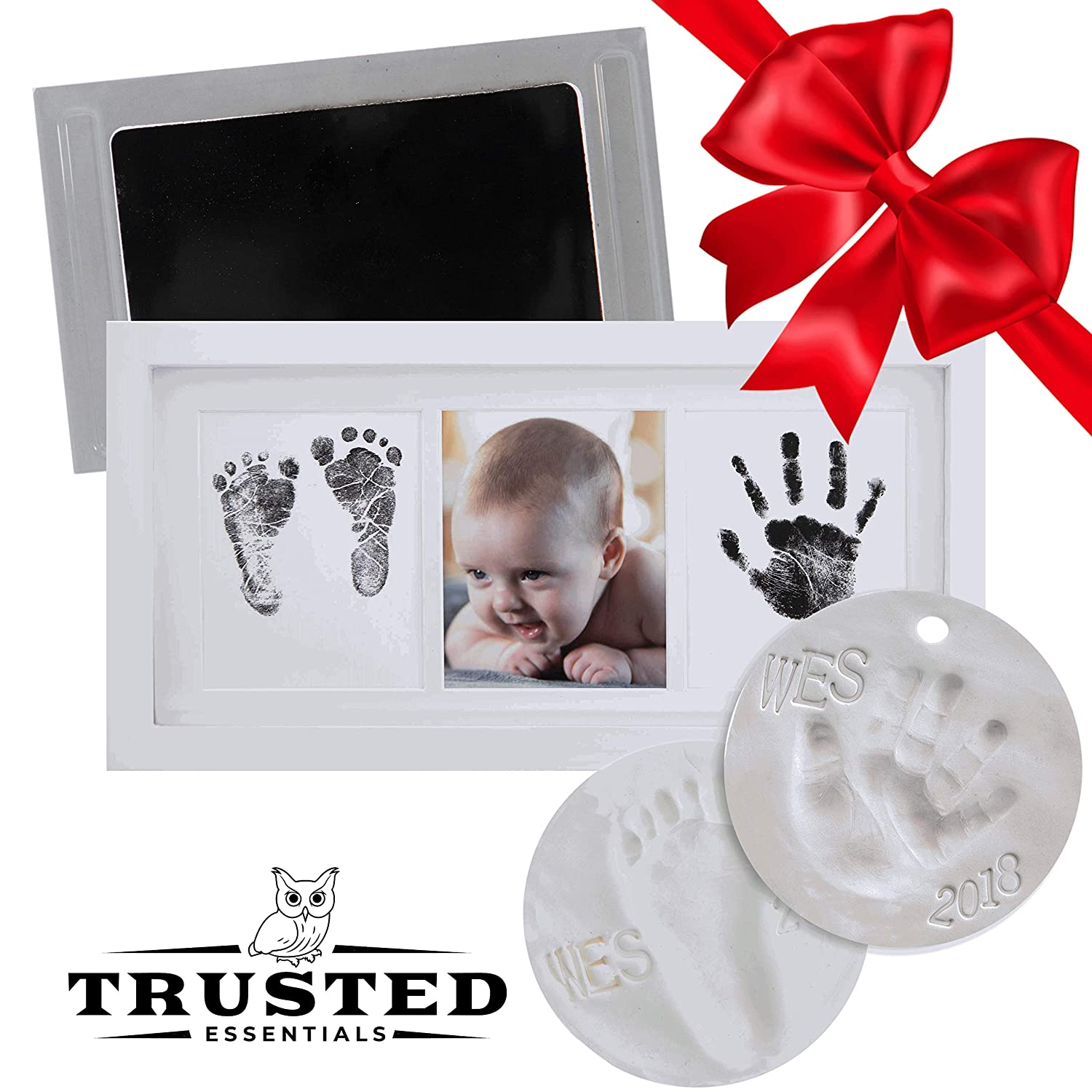 Newborn Baby Clean Touch Non-Toxic Ink Pad Handprint & Footprint Photo Frame Kit Unique Baby...