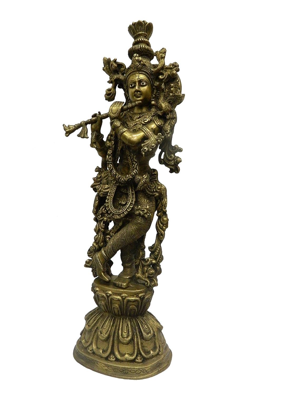 Amazon.com: BHARAT HAAT BH02622 Krishna de pie de metal de ...