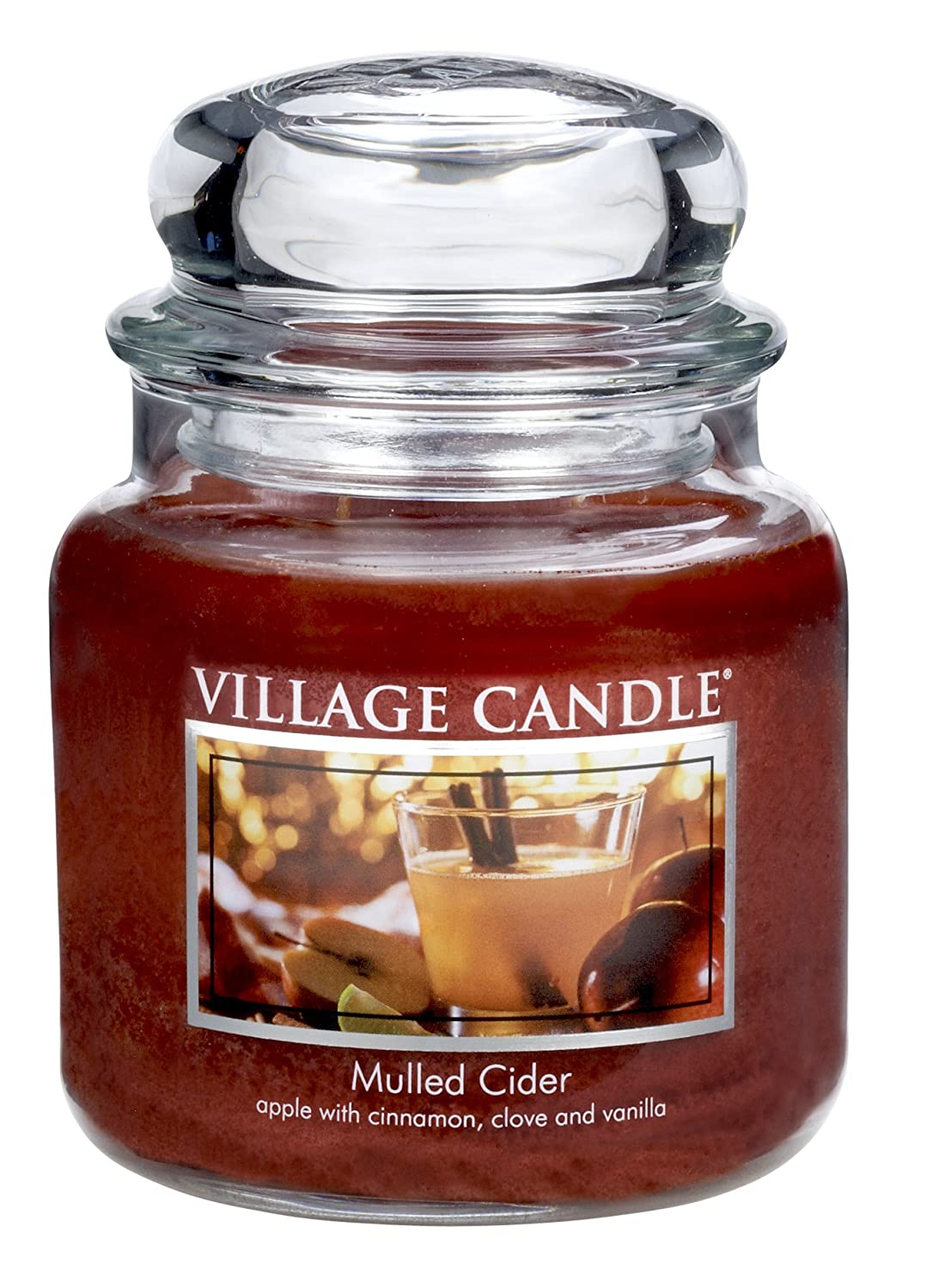 Village Candle Mulled Cider 11 oz Glass Jar Scented Candle, Small Inc. 106011318