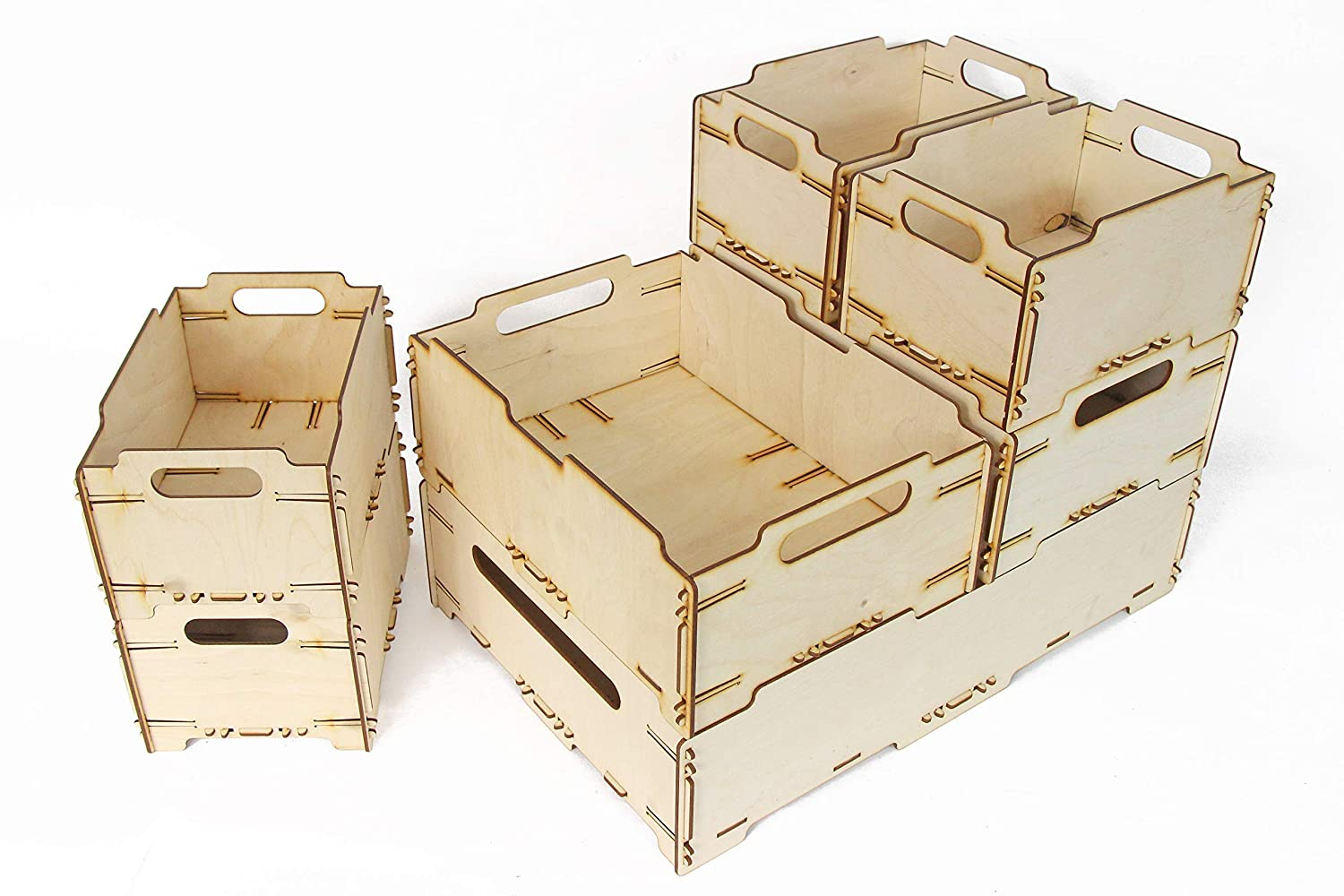 Handmade Wooden Crates 12.8 x 18.7 x 14.2 inches