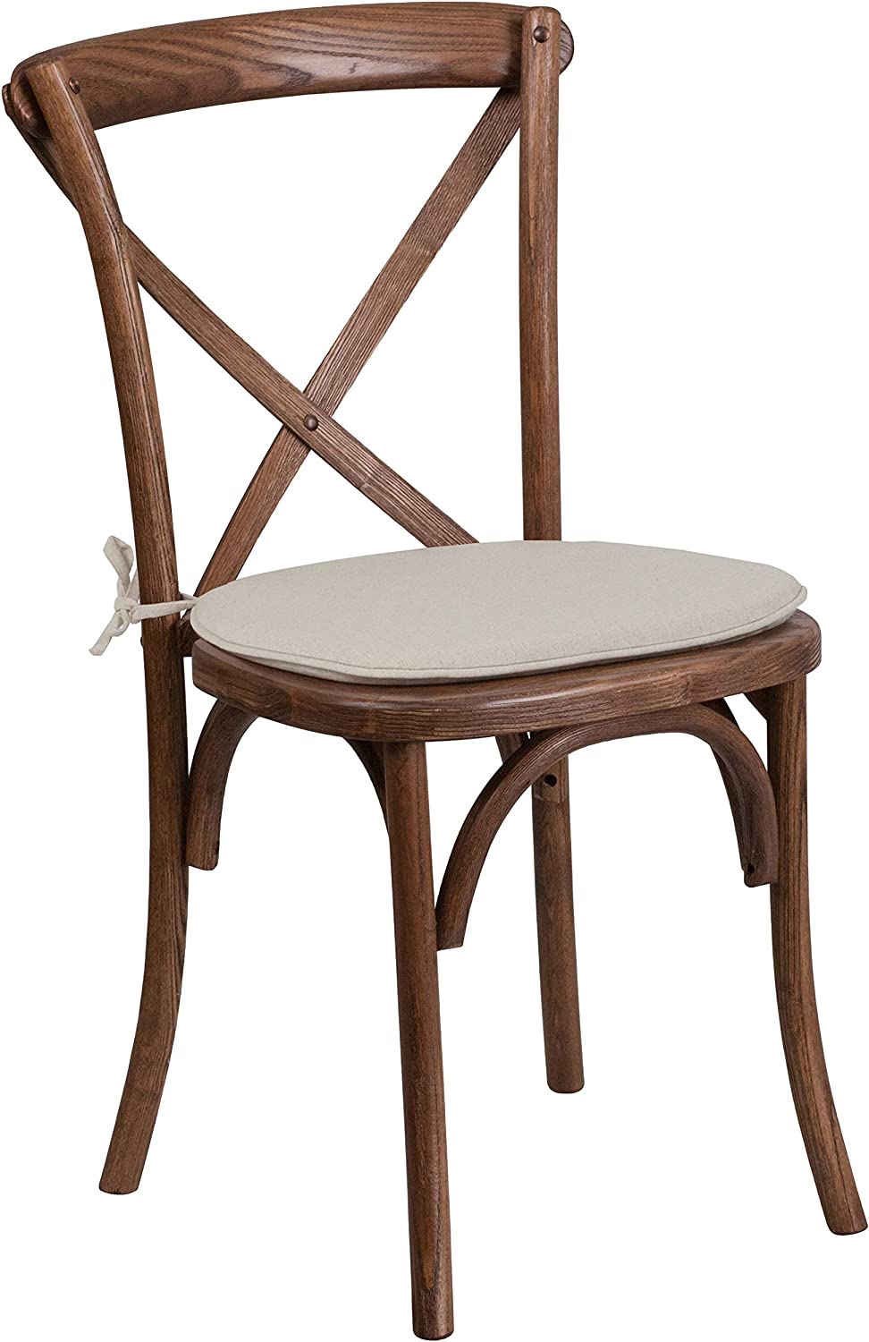 Flash Furniture Hercules Series Stackable Mahogany Wood Cross Back Chair with Cushion