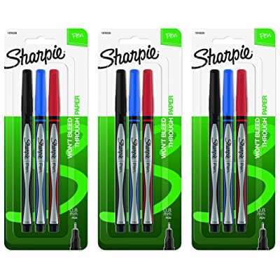 Sharpie Pens, Fine Point (0.8mm), Assorted Colors, 3 Count. 3-Pack: Office Products