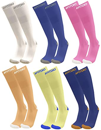 630e99662 Wide Calf Plus Size Knee High 15-20mmHG 6-Pair Sports Compression Socks For