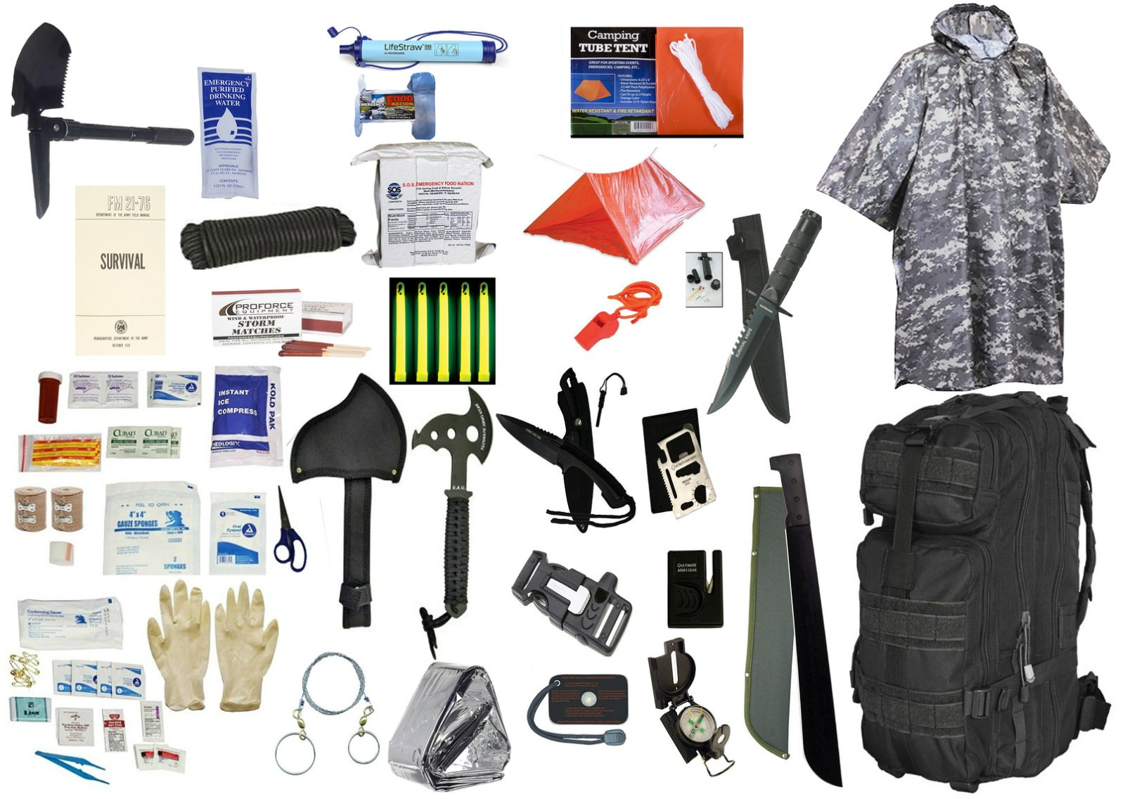 1 Person Supply 1 Day Emergency Bug Out S.O.S. Food Rations, Drinking Water, LifeStraw Personal Water Filter, First Aid Kit, Tent, Blanket, Backpack, ACU Poncho + Essential 21 Piece Survival Gear Set