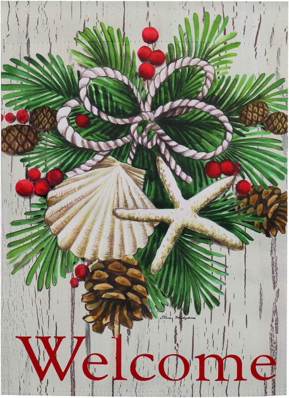 Evergreen Flag Coastal Christmas Garden Flag 12.5 x 18 Inches Double Sided Outdoor Safe Holiday Welcome Flag for Gardens and Yards