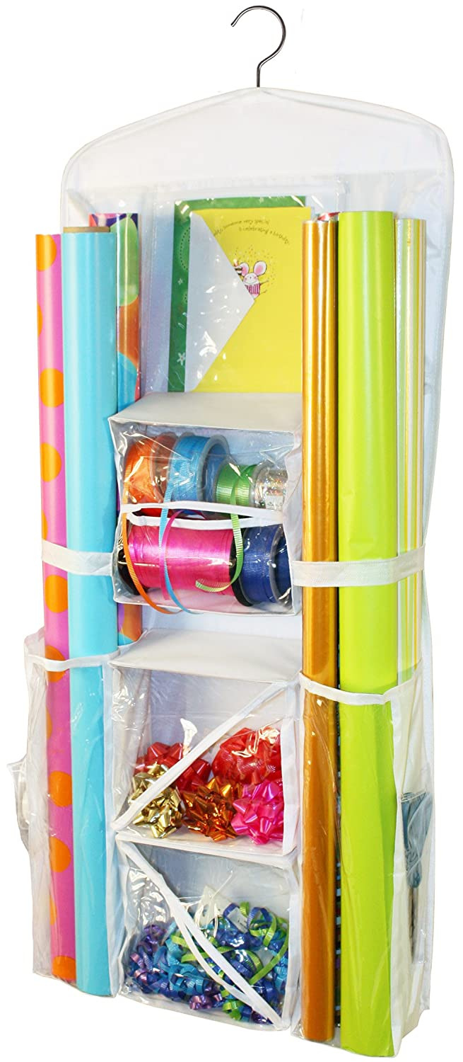 Kitchen Wrap Organizers Amazon gift wrap organizer storage for wrapping paper all amazon gift wrap organizer storage for wrapping paper all sized rolls gift bags bows ribbon and more organize your closet with this hanging workwithnaturefo