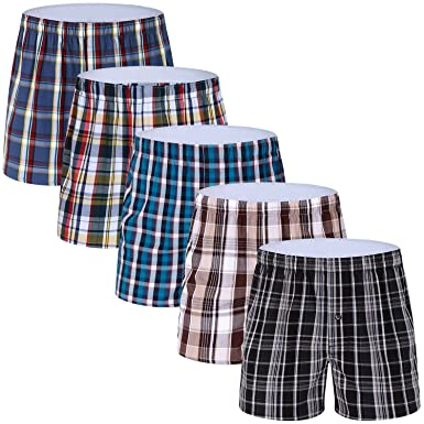 14691485cfb3 5-Pack Men's Colorful Woven Boxer Underwear 100% Cotton Premium Quality  Shorts T1-