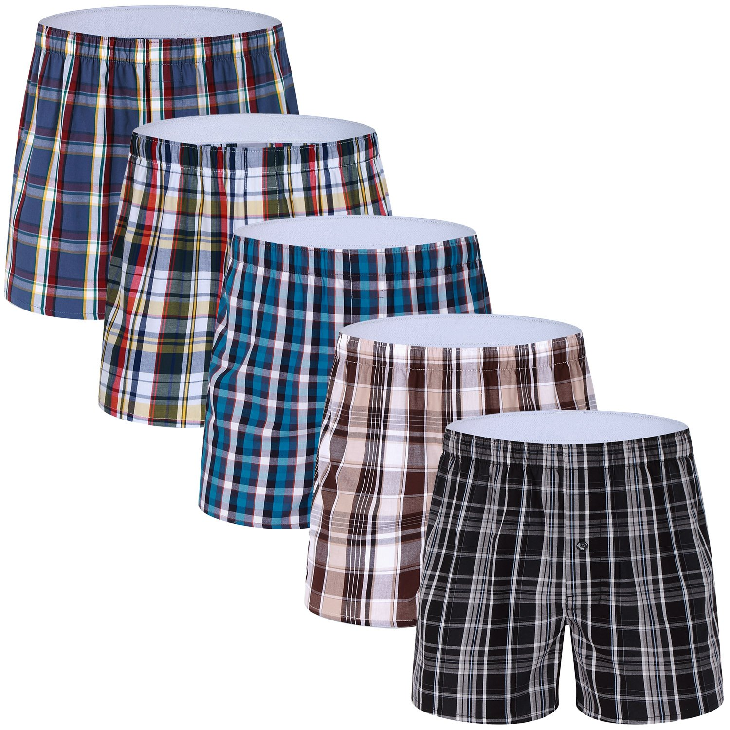 5-Pack Men's Colorful Woven Boxer Underwear 100% Cotton Premium Quality Shorts T1-Large