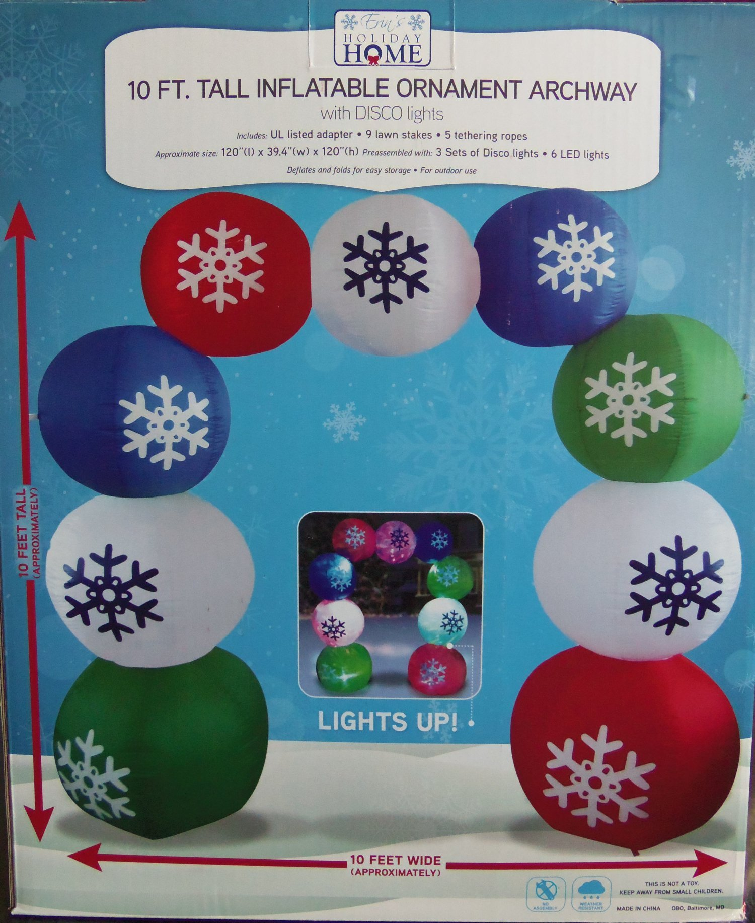 Inflatable Illuminated Air-blown Ornament Arch with Disco Lights - 10' Tall