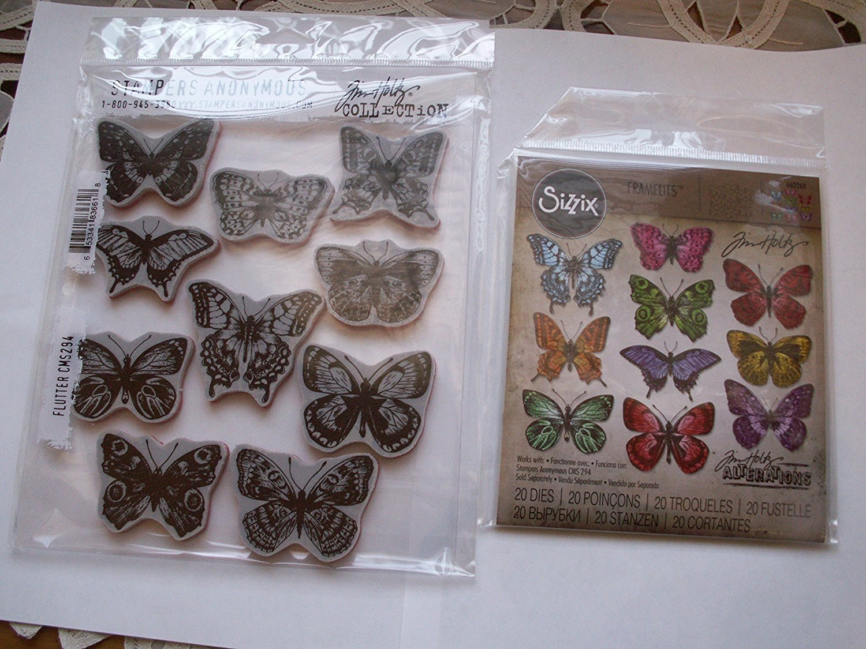 Bundle Tim Holtz Flutter Butterflies Die & Stamps 662269 CMS294 Elllison