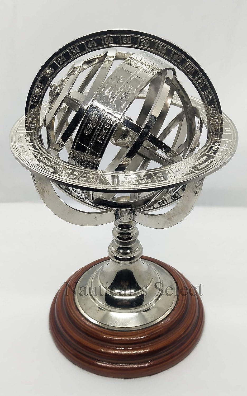 "Brass Finish Armillary Sphere Globe - Nautical Astrolabe Garden Armillary Zodiac Sphere Globe – Nautical Home Decor | Nautical's Select (Nickel, 11"")"