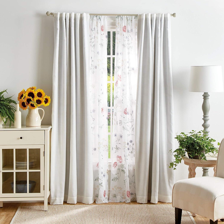 Martha Stewart Marthas Garden Floral Semi Sheer Rod Pocket Window Curtain Panel Pair 95 Multi Home Kitchen