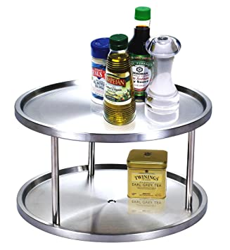 Cook N Home 10.5 Inch 2 Tier Lazy Susan Turntable Organizer, Stainless Steel