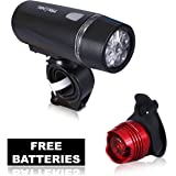 Bike Light Set - Super Bright 5 LED Lights for Your Bicycle - Easy to Mount Headlight and Taillight with Quick Release System - Best Front and Rear Lighting - Fits All Bikes With FREE BATTERIES (for both lights)