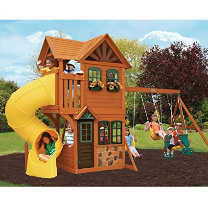Cedar Summit Play Set Wooden House Deck Swings Rockwall Twist Slide Outdoor