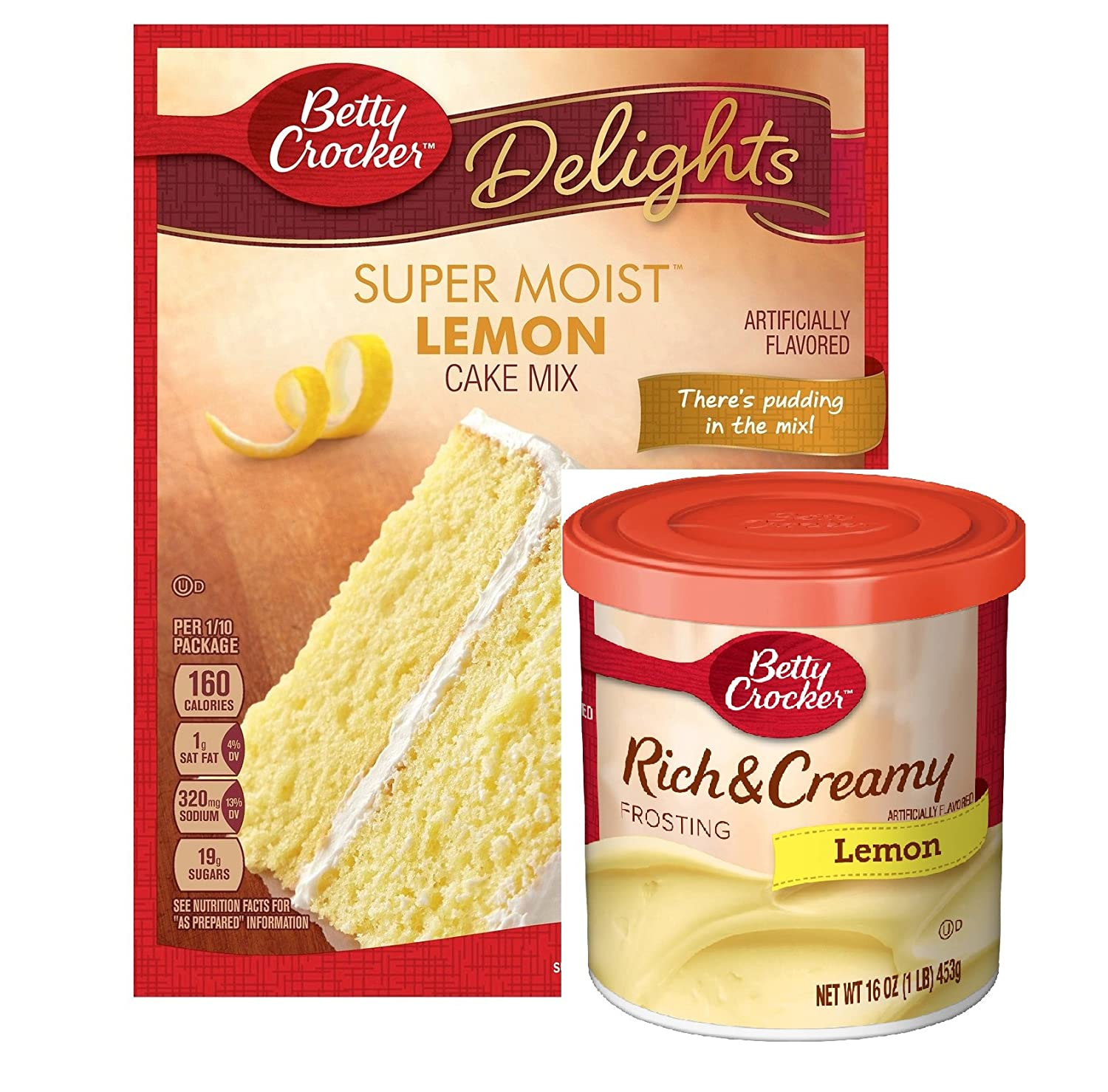 "Betty Crocker Super Moist Lemon Cake Mix and Betty Crocker Rich & Creamy Lemon Frosting Bundle - 1 of Each - 2 Items. ""There's Pudding in the mix!"" Cake Mix"