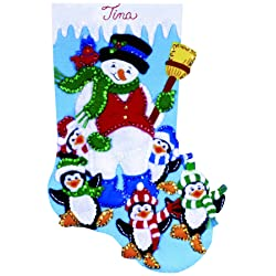 Penguin Party Stocking Felt Applique Kit-16-1/2 Long