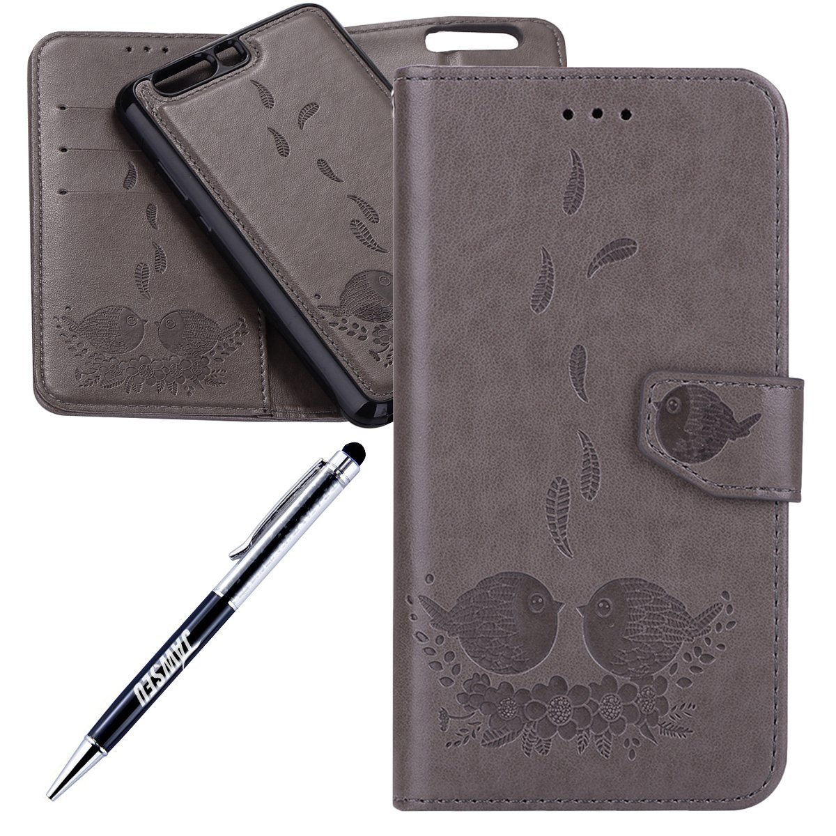 Pelle Portafoglio Custodia per Huawei P10 Plus Wallet Pouch Goffratura Modello con Super Sotti JAWSEU Huawei P10 Plus Custodia Portafoglio Libro Disegno PU Leather Flip Case Custodia Huawei P10 Plus Shock-Absorption Huawei P10 Plus Cover Custodia Pelle