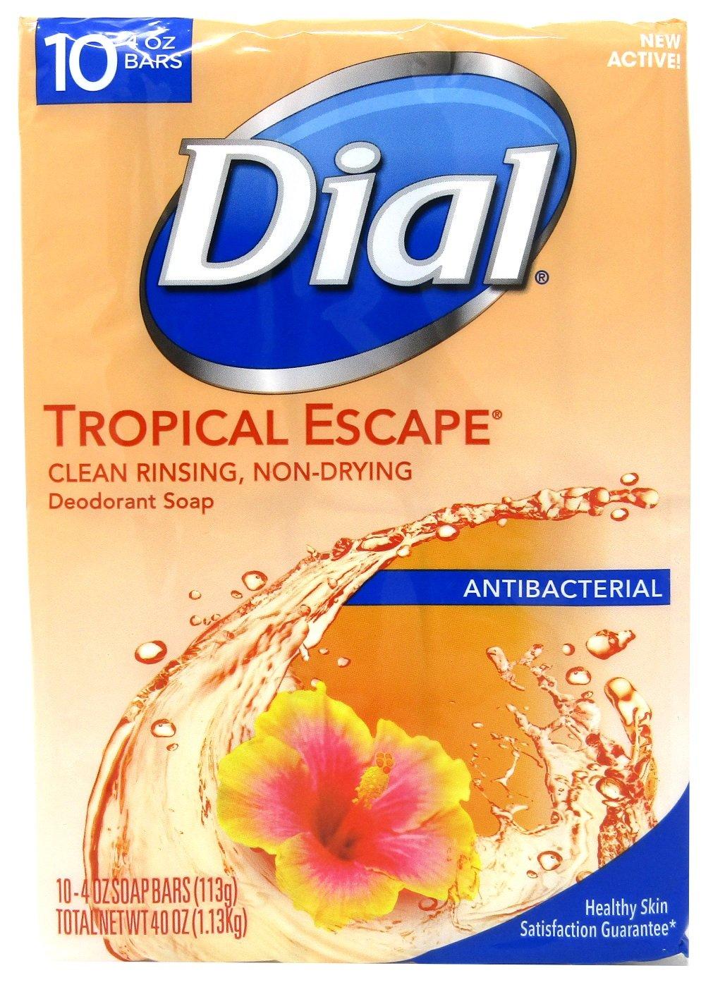 Dial Tropical Escape Antibacterial Deodorant Bar Soap, 4 oz, 10 count