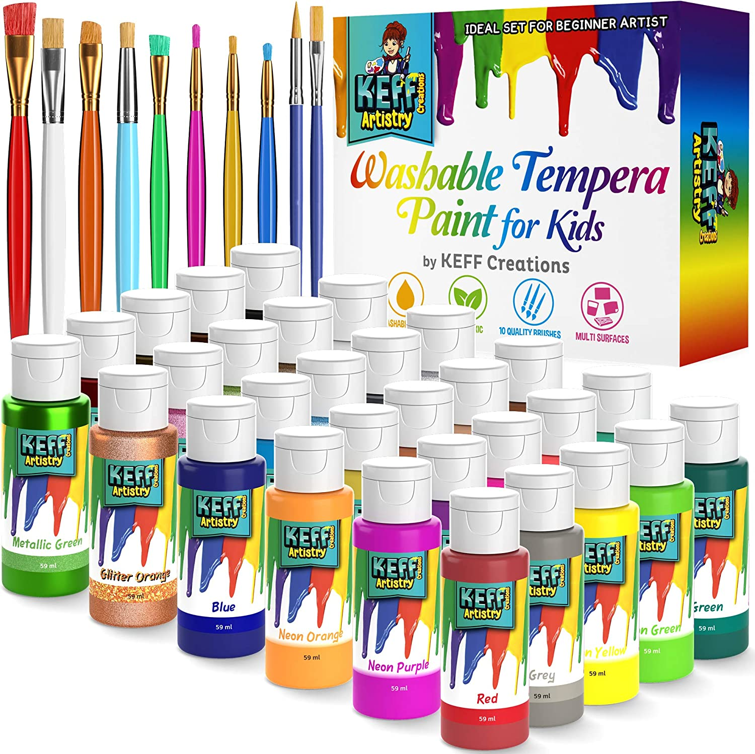 Washable Kids Paint Set - Premium quality 30 Vibrant Kids Finger Paint bottles - Safe Nontoxic Washable Paint for Kids - Tempera Paint in Fun Variety of Standard, Glitter, Neon and Metallic Colors