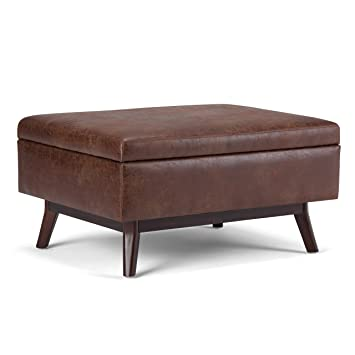 Phenomenal Simpli Home Axcot267S Dsb Owen 34 Inch Wide Mid Century Modern Rectangle Coffee Table Storage Ottoman In Distressed Saddle Brown Faux Air Leather Ibusinesslaw Wood Chair Design Ideas Ibusinesslaworg