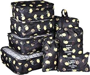 Vercord 8 Set Travel Packing Pods Luggage Organizers Cubes with Laundry Bags Accessories, Black Lemon