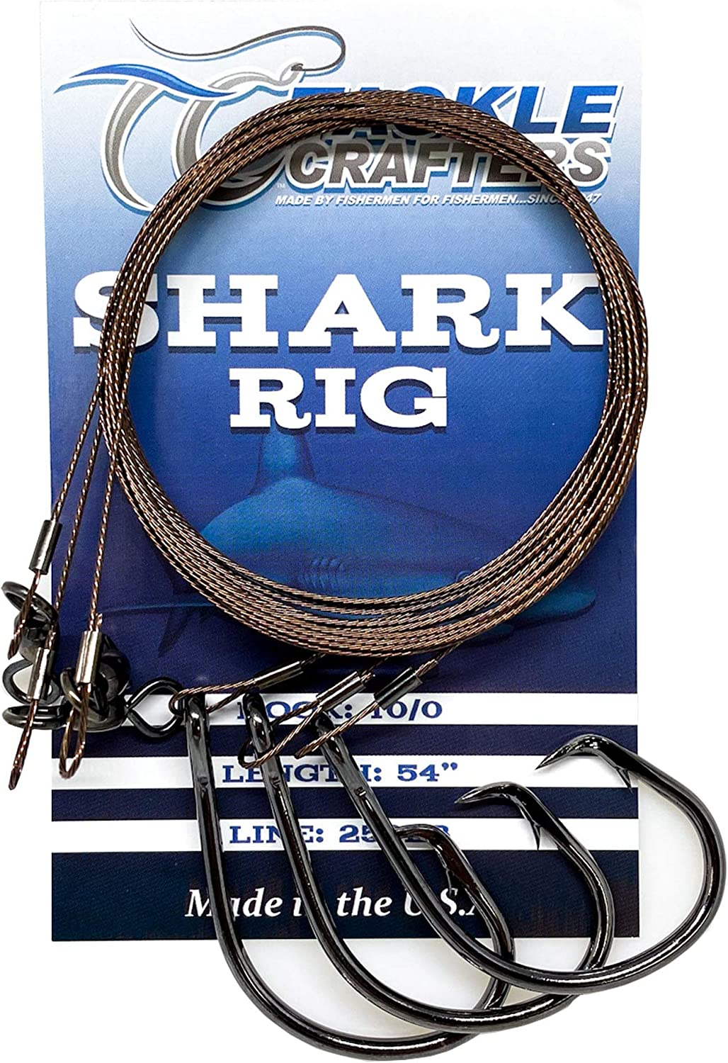 Shark Rig Circle Hook Saltwater Fishing Gear and Tackle 3 Pack - Made in The USA