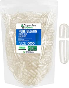 Capsules Express- Size 000 Clear Empty Gelatin Capsules 1000 Count - Kosher and Halal - Pure Gelatin Pill Capsule - DIY Powder Filling