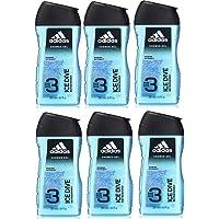 adidas Ice Dive Duschgel - mit 3-in-1 Formulierung für Gesicht, Körper und Haar & ein langanhaltendes Frischegefühl - Duschgel Set im 6er Pack (6 x 250 ml)