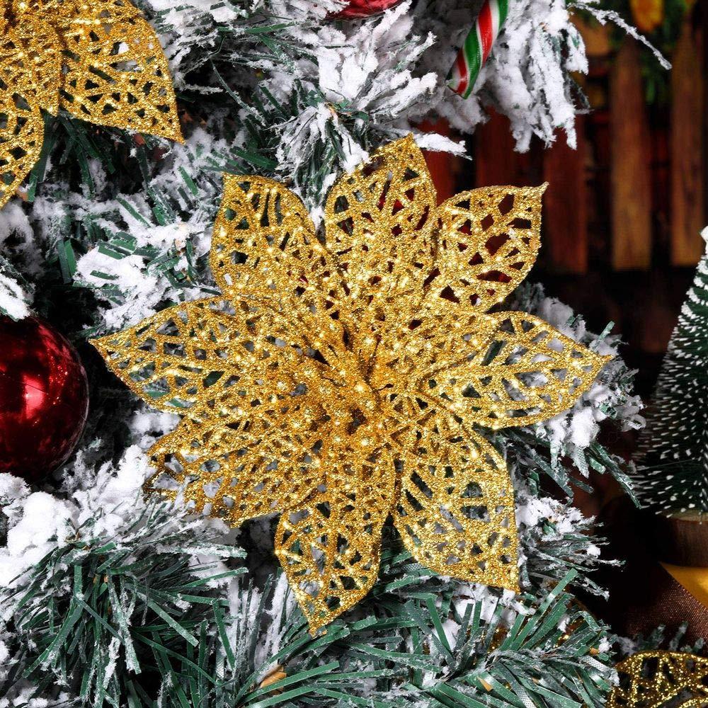 plastica 20 Pezzi 8 cm FABSELLER Diameter 8cm ghirlande Ornamentali per Albero di Natale Champagne Fiori Artificiali con Glitter Artificiali Decorazione per Albero di Natale