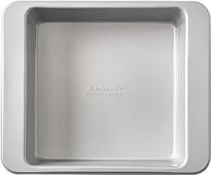 KitchenAid Nonstick Aluminized Steel Square Cake Pan, 9-Inch, Silver