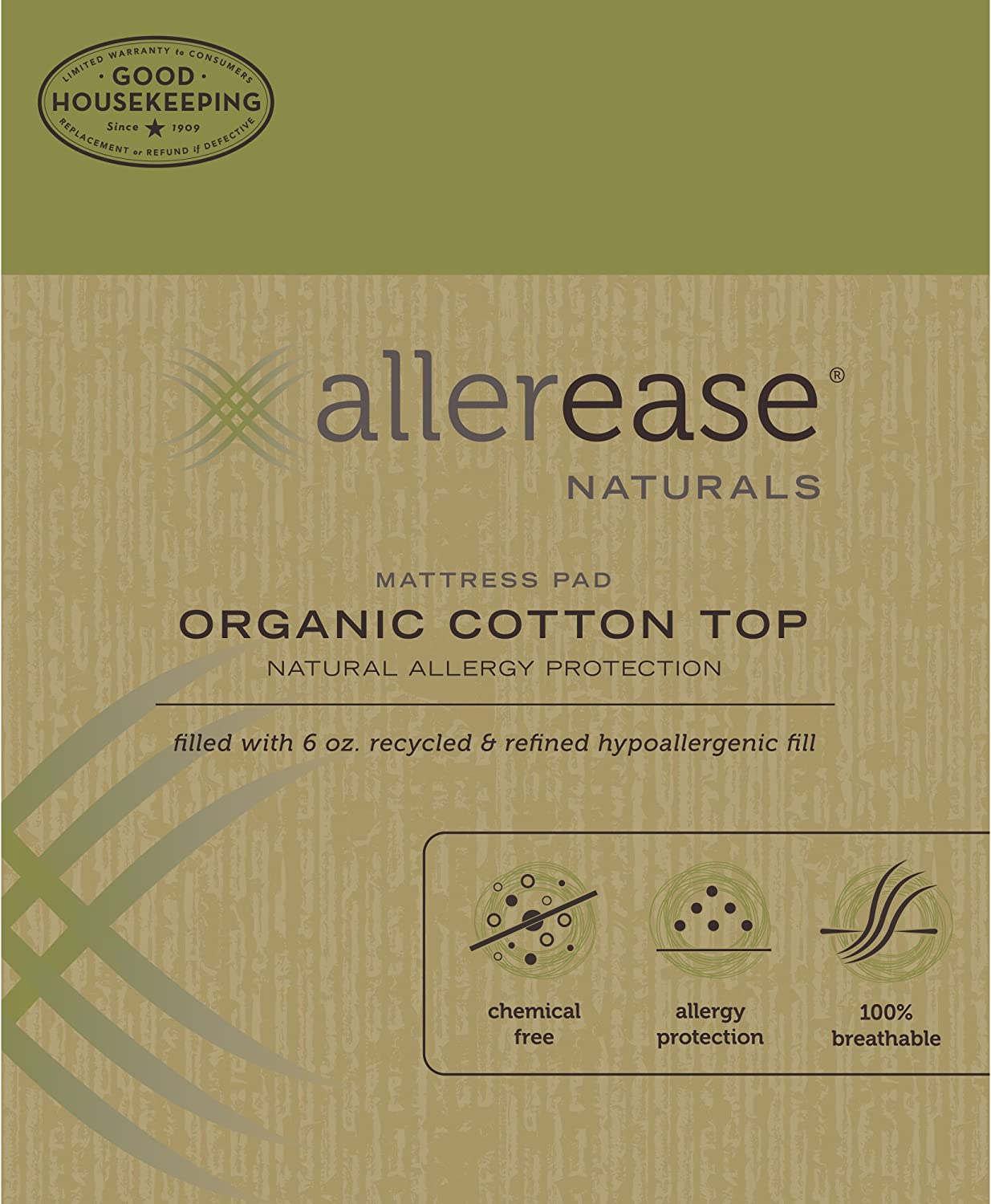 Chemical Free King American Textile Company 46516ATC AllerEase Organic Cotton Allergy Protection Fitted Mattress Pad Block Dust Mites and Other Allergens 100/% Organic Cotton Cover Hypoallergenic Fill Natural Off-White