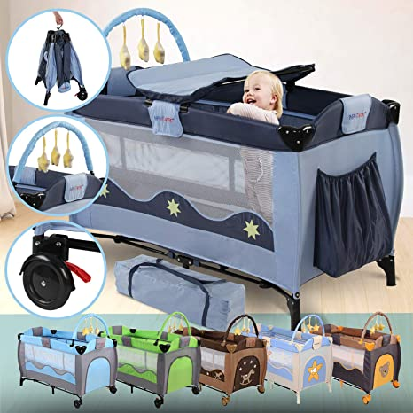6 Designs Foldable Carry Bag Travel Bed for Children Rounded Edges Changing Matt Folding Bassinet Bed Play Pen Padded Borders Travel Cot Bedside Cot 126//66//82cm