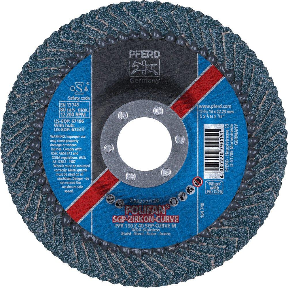 PFERD 67200 Polifan Zirkon Curve Radial Type Flap Disc, Zirconia Alumina, 6'' Diameter, 7/8'' Arbor Hole, 10200 rpm, 40 Grit