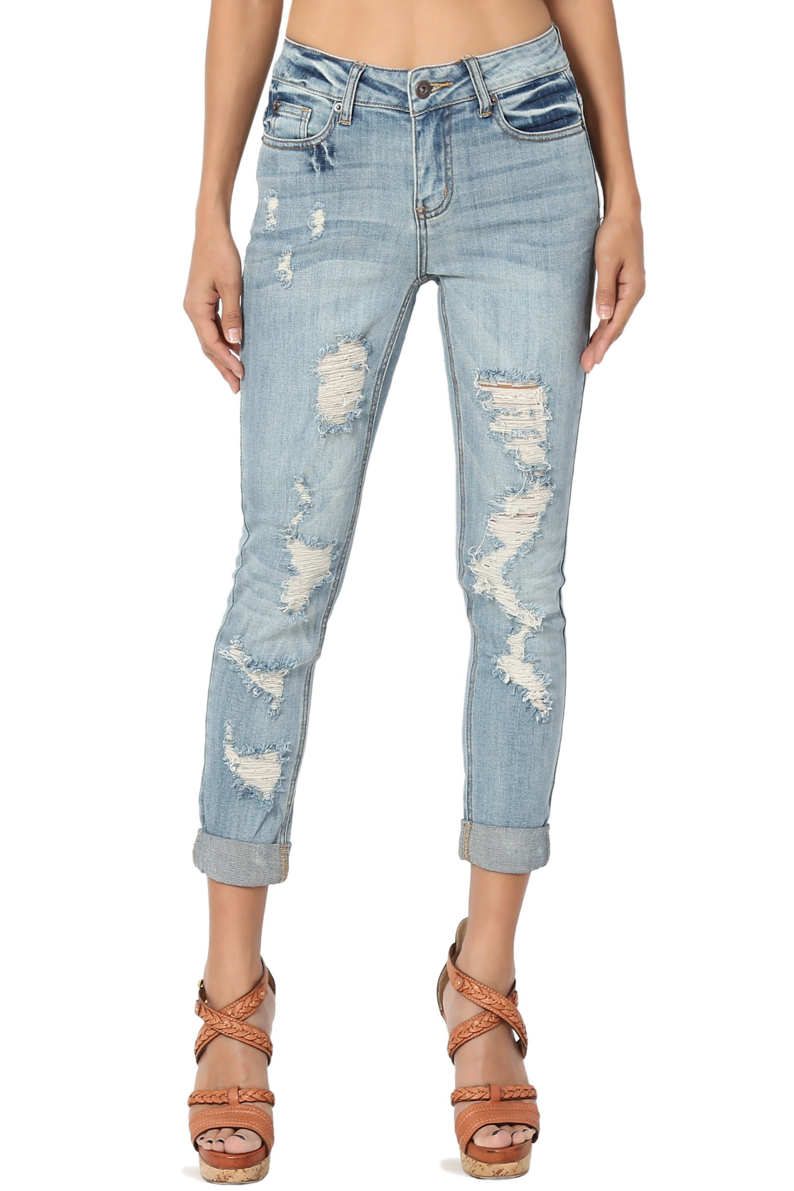 TheMogan Junior's Distressed Stretch Mid Rise Crop Slim Boyfriend Jeans Light 5