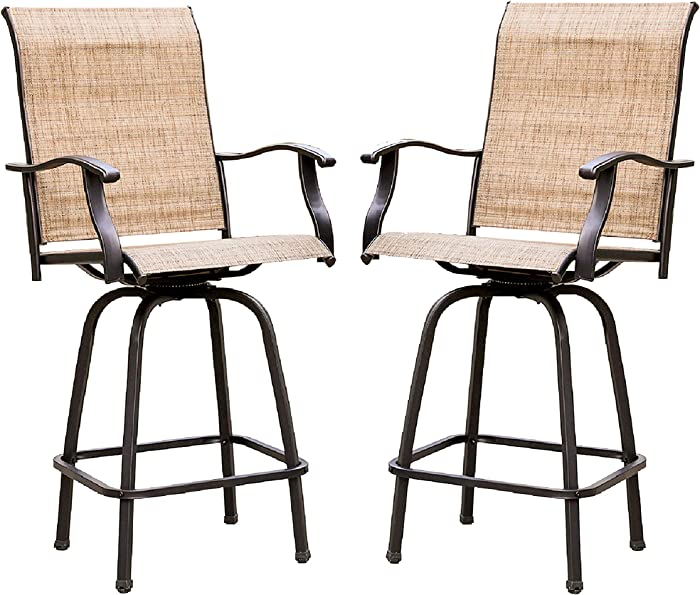 LOKATSE HOME 2 Piece Swivel Bar Stools Outdoor High Patio Furniture with All Weather Metal Frame, 2 Chairs