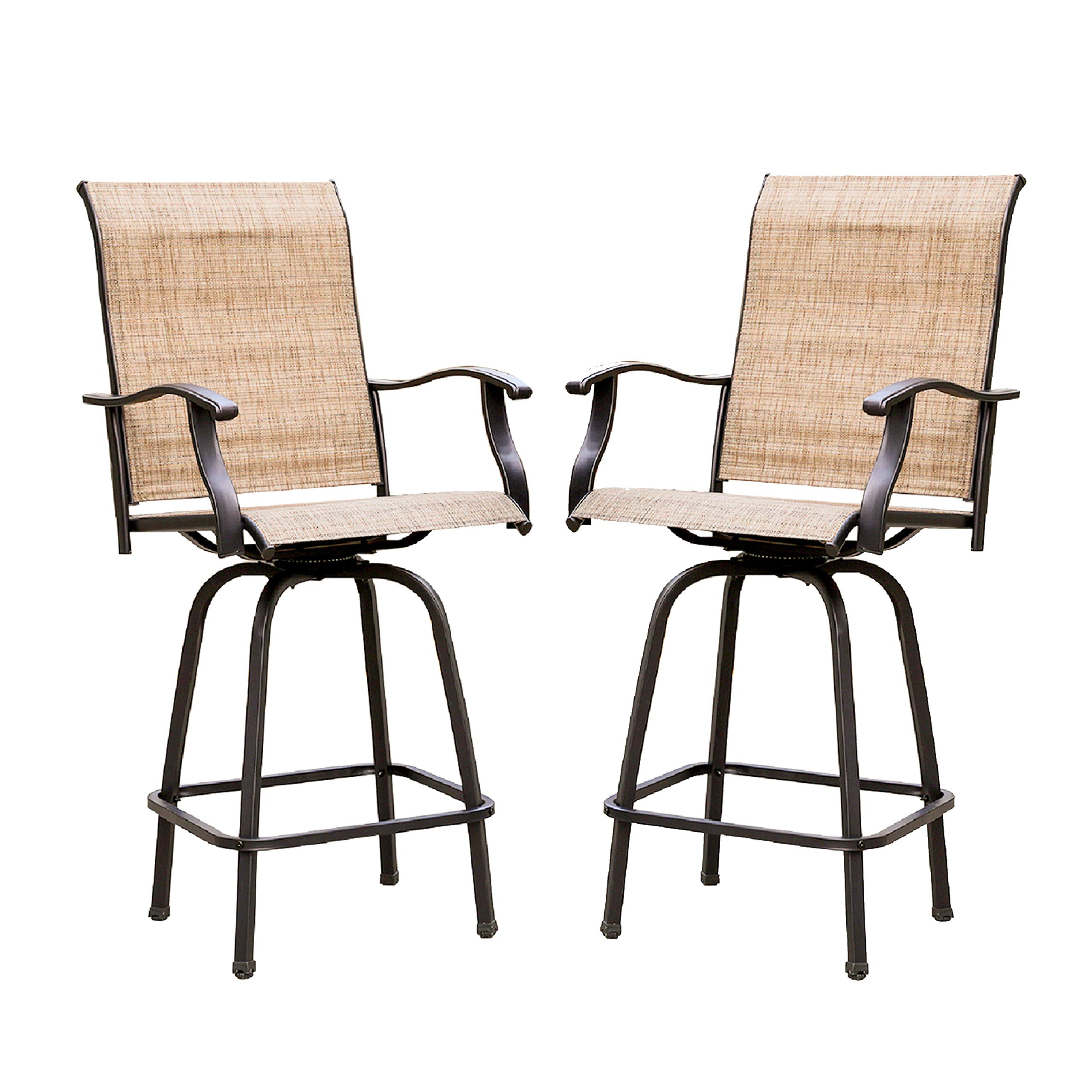 LOKATSE HOME 2 Piece Swivel Bar Stools Outdoor High Patio Chairs Furniture with All Weather Metal Frame, Beige-2chairs by LOKATSE HOME (Image #1)