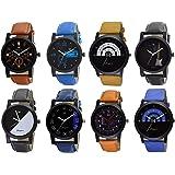Om Designer Combo Pack of 8 Analogue Multi Color Dial Men's & Boy's Watch (Bulk 8 Piece)