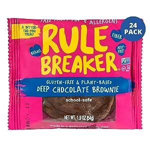 Rule Breaker Snacks Vegan Cookies | Gluten Free, Nut Free and Great for School, Allergen Free, Kosher, Plant Based, Chickpea Based Blondie Brownies | As Seen on Shark Tank | Individually Wrapped 1.9oz Cookies, Deep Chocolate Brownie (24 Pack)
