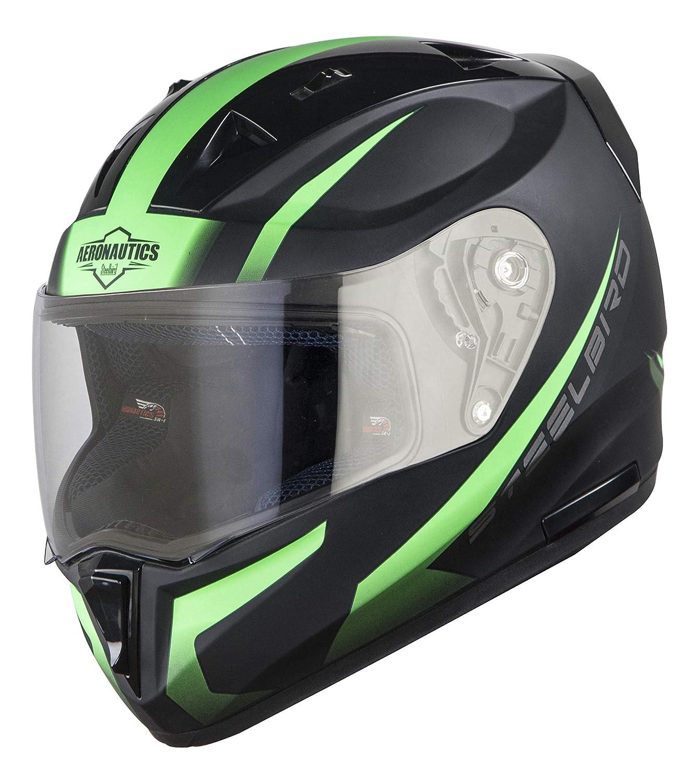 Stylish Matt Black/Green  Color Steelbird SA-1 Whif Full Face Helmet