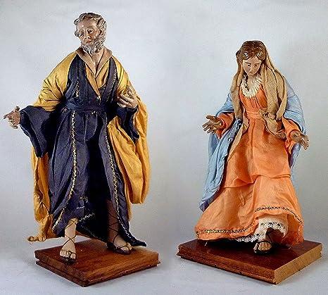 Pastor napolitano personaje San José y la Virgen María Categoría 25 cm por pesebre - PresepeMania