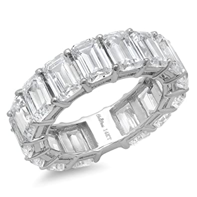 emerald cut diamond anniversary stone white band product gabriel gold bands