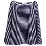 360° FULL COVERAGE Nursing Cover for Breastfeeding - Luxurious, Soft Breathable Cotton in Poncho Style (Navy Stripe)