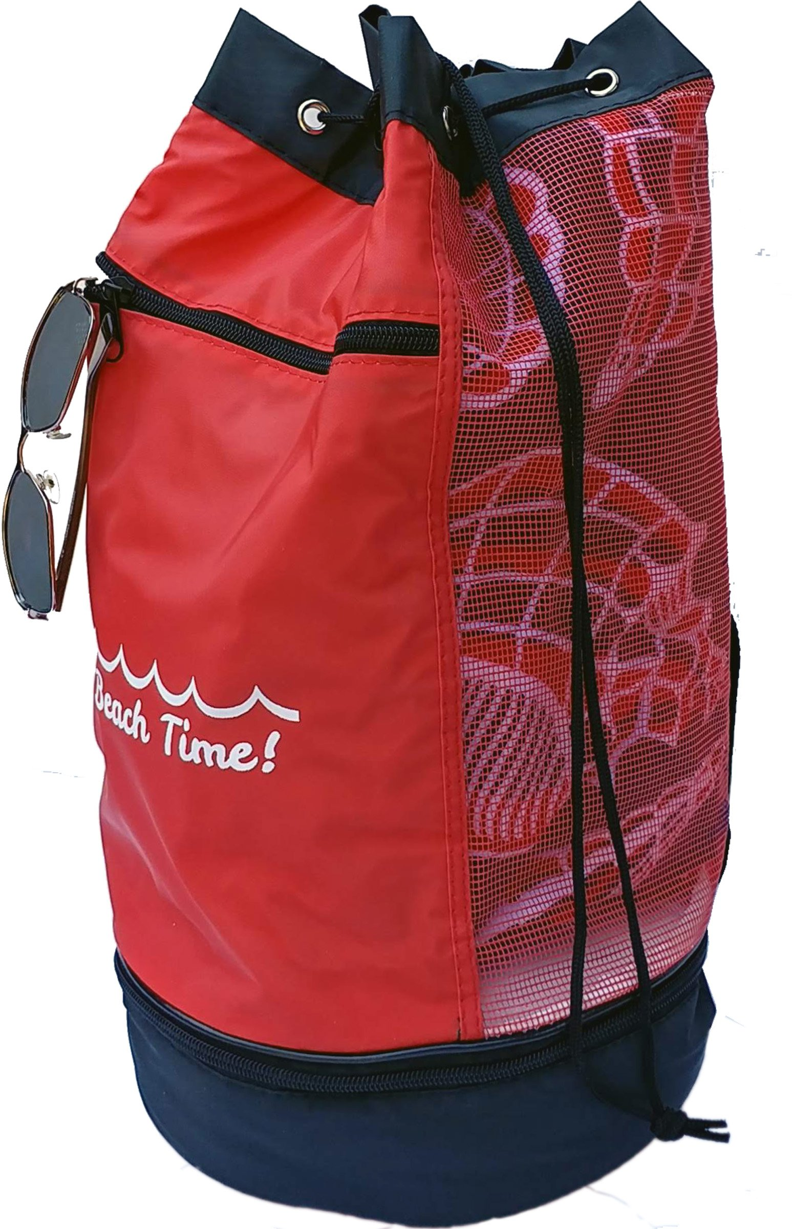Mesh Beach Bag with Insulated Compartment and Zip Pocket, Red